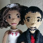 Bride and groom crochet dolls