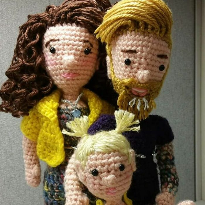 Crochet dolls of Caucasian mother, father and daughter