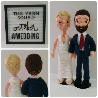 Crochet dolls of bride and groom