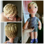 Grid photo of a blonde crocheted boy doll