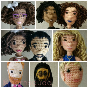 Grid photo collage of diverse crochet doll faces